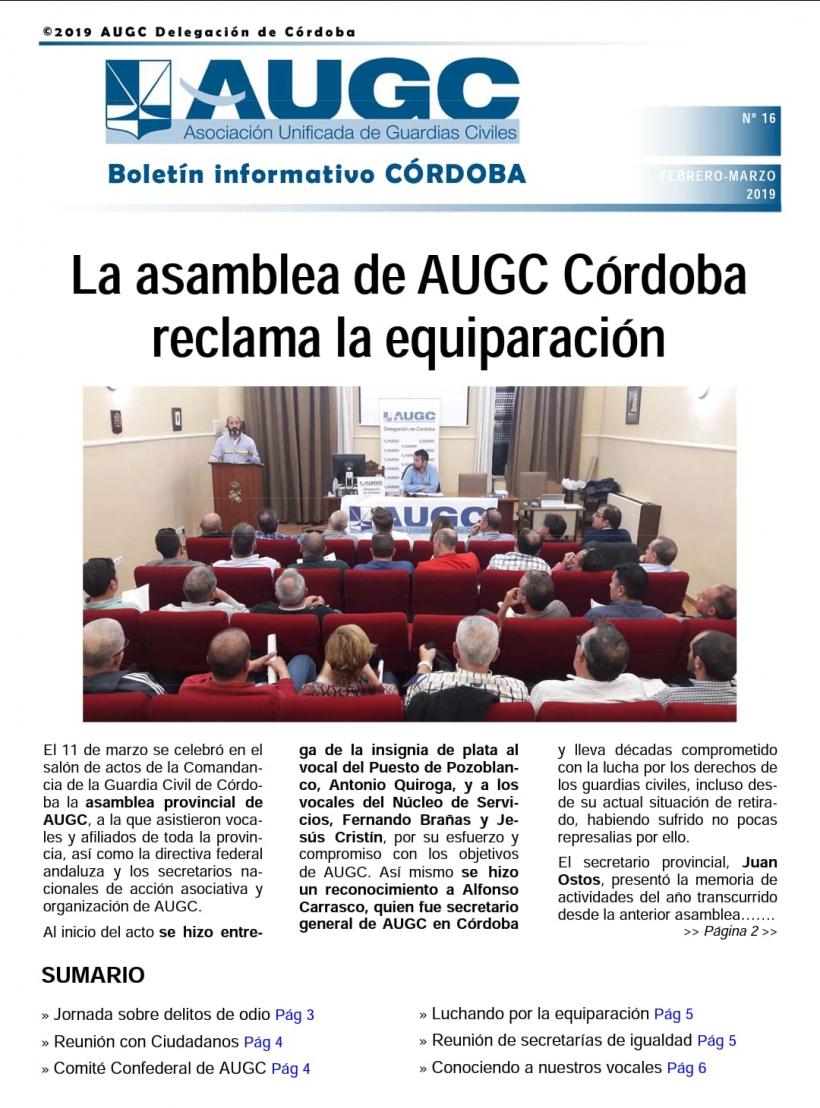 Portada del boletín informativo de AUGC Córdoba nº 16