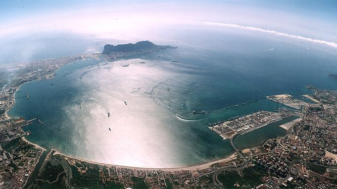 Vista aérea de la bahía de Algeciras.