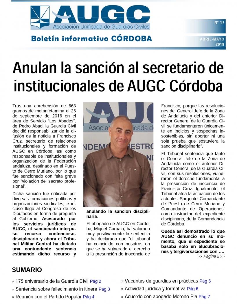 Portada del boletín informativo de AUGC Córdoba nº 17