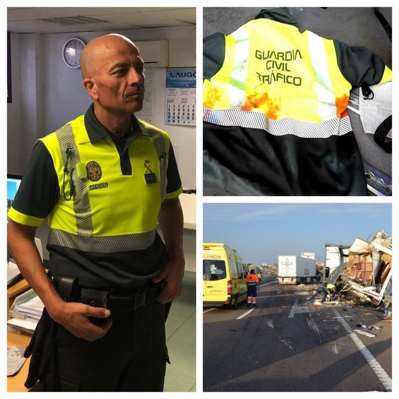 Claudio Rivera. En la imagen superior, la prenda con la que efectuó el torniquete. Debajo, imagen del accidente.