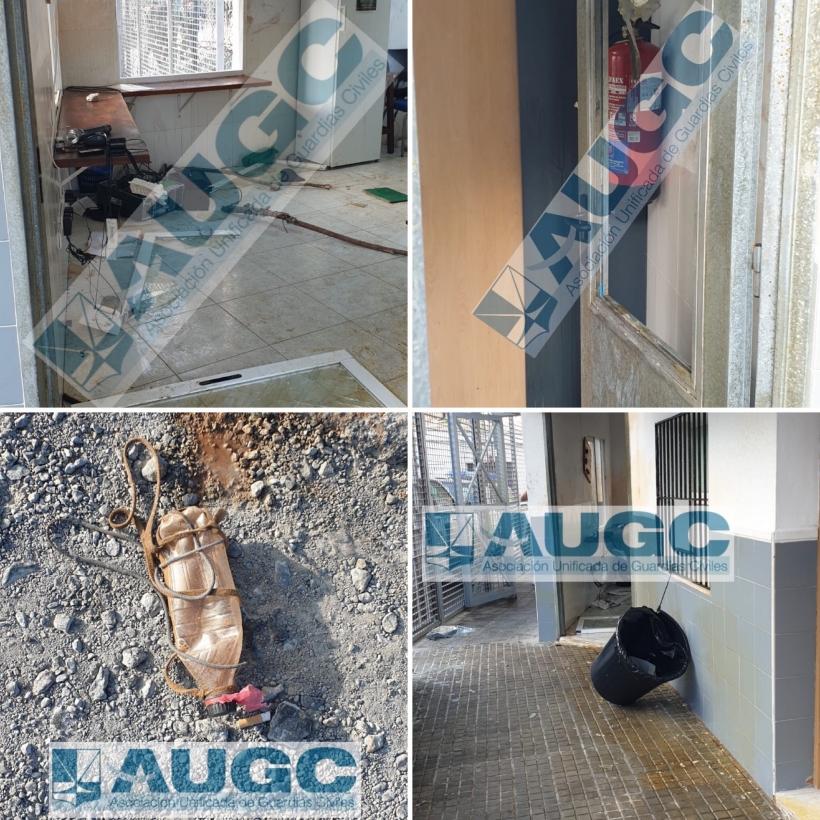 Estado de las instalaciones de la Guardia Civil en Ceuta tras el asalto de los inmigrantes.