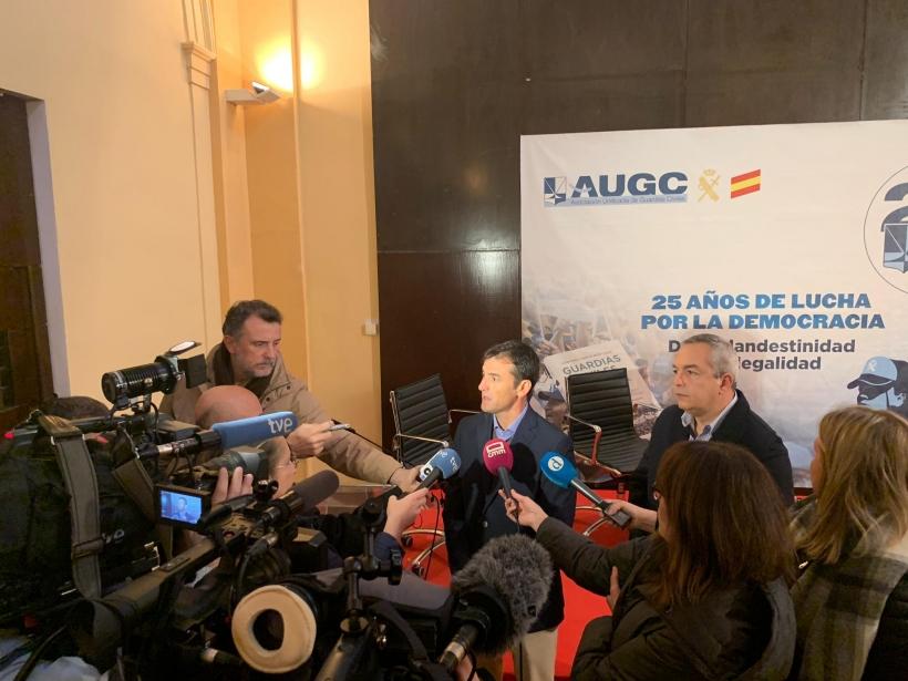 Un momento de la rueda de prensa que esta mañana han ofrecido en Toledo representantes de AUGC.