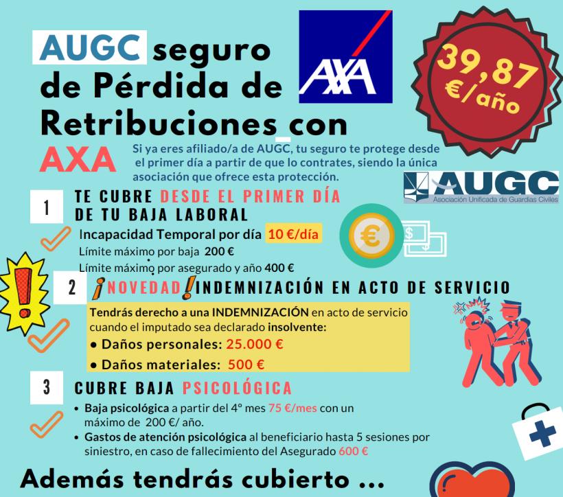 AUGC y AXA te ofrecen el mejor seguro de pérdida de retribuciones de la Guardia Civil.