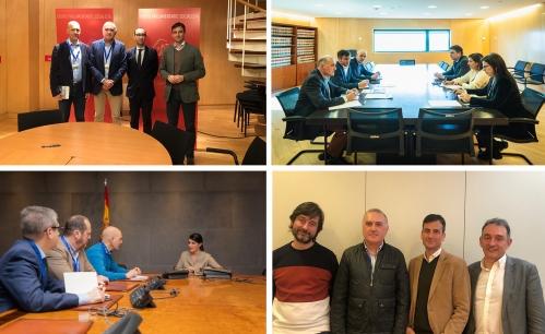 Desde arriba a la izquierda, y en el sentido de las agujas del reloj, imágenes de las reuniones mantenidas por AUGC con altos representantes del Partido Socialista, Partido Popular, VOX y Unidas Podemos.